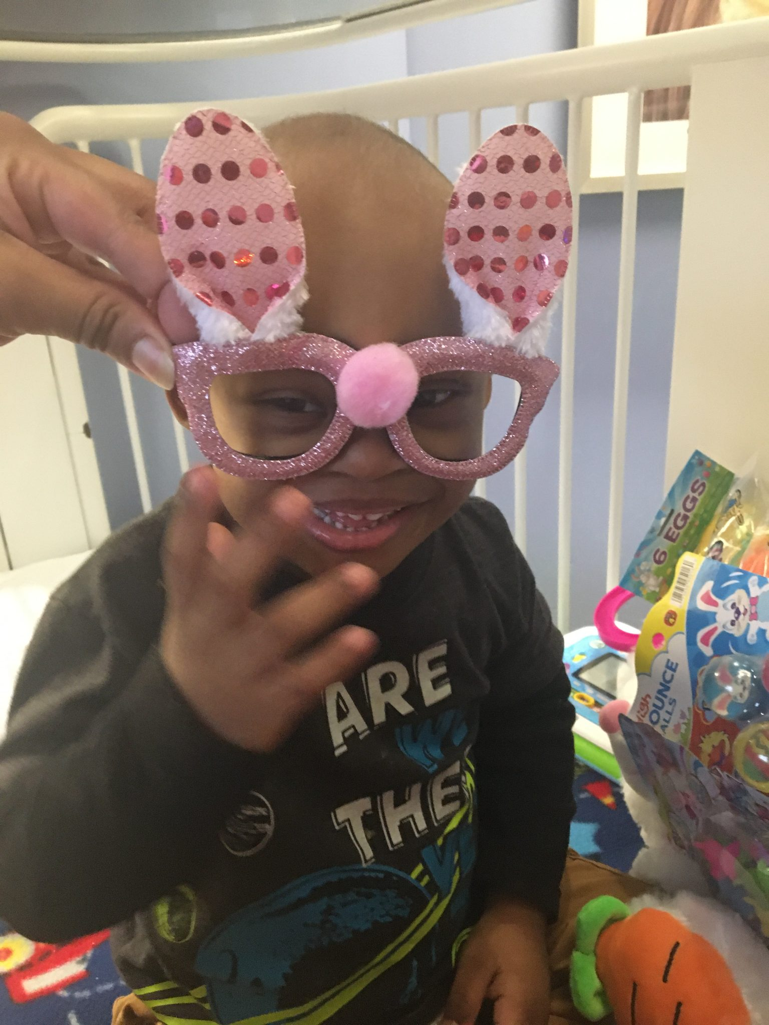 Cameron Peete with Easter glasses