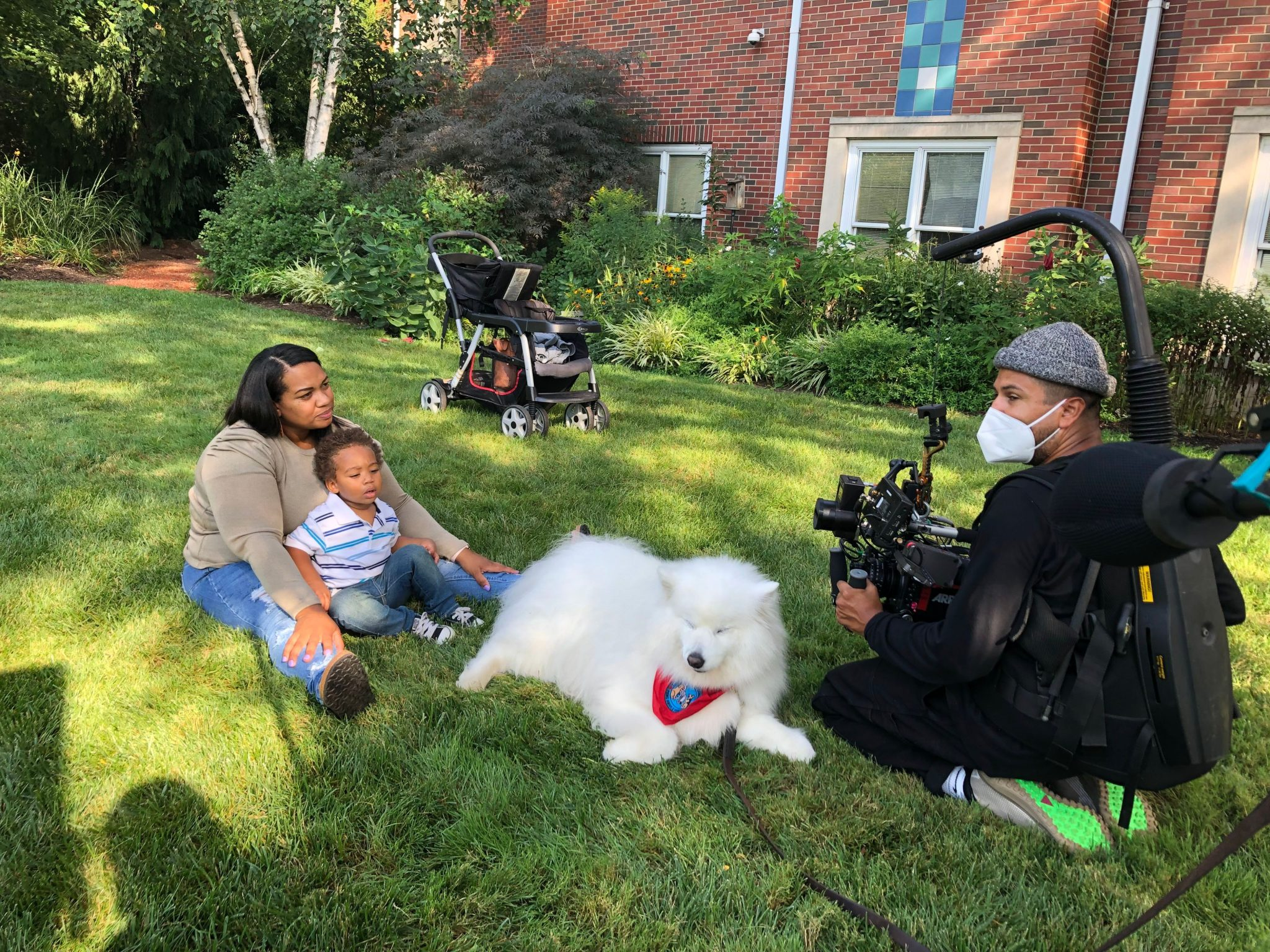Adelaida, Kaiden and Sochi take a break from filming