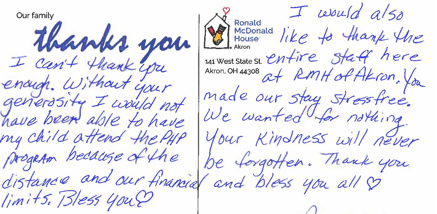 Thank you note from a family who stayed at RMHA.