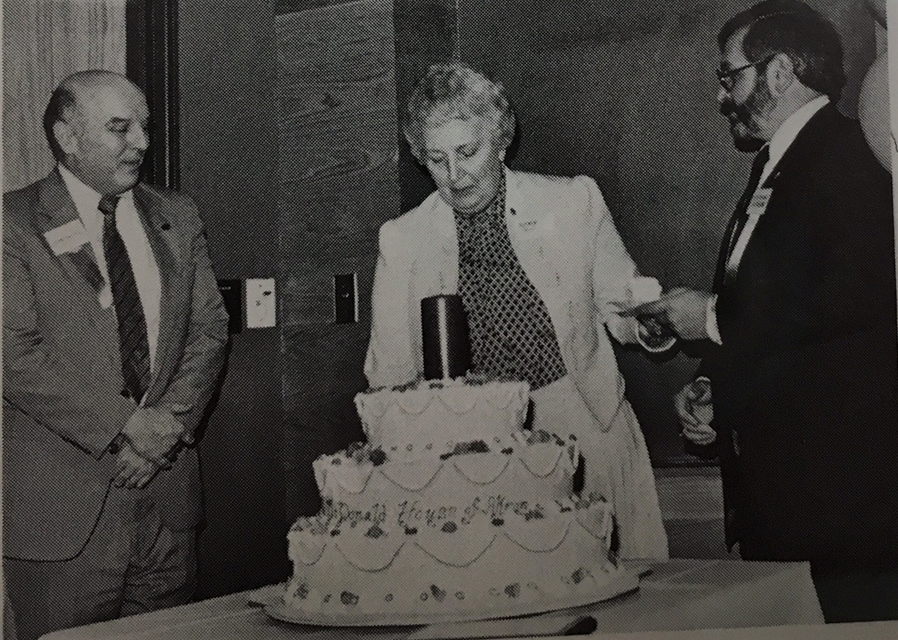 John Shaffer, Blanche Davy, Peter Polumbo at first birthday party of RMHA